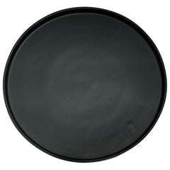 Handmade Ceramic Matte Platter in Black, in Stock