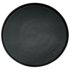 Handmade Ceramic Matte Platter in Black, in Stock