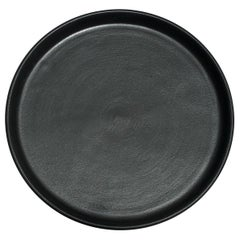Handmade Ceramic Matte Salad Plate in Black, in Stock
