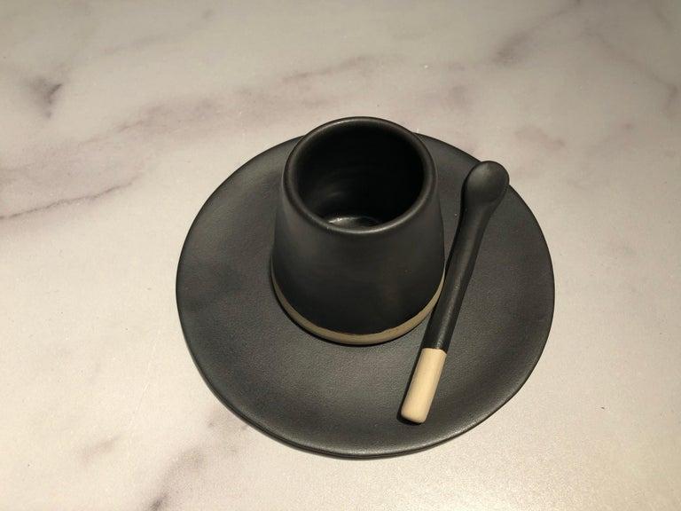 Organic Modern Handmade Ceramic Matte Saucer in Black, in Stock For Sale