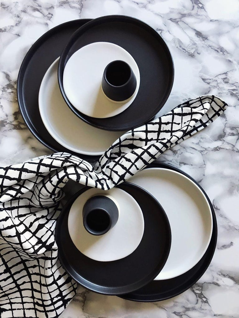 Hand-Crafted Handmade Ceramic Matte Saucer in Black, in Stock For Sale