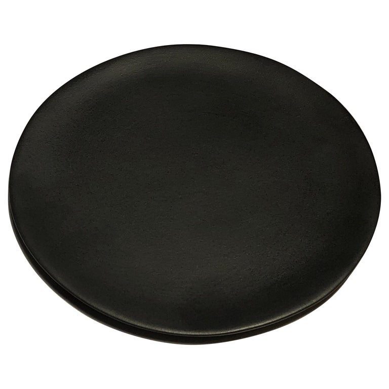 Handmade Ceramic Matte Saucer in Black, in Stock For Sale