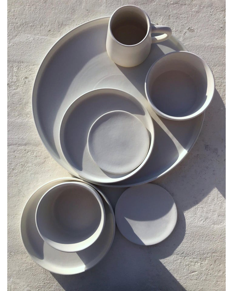 Contemporary Handmade Ceramic Matte Saucer in White, in Stock For Sale