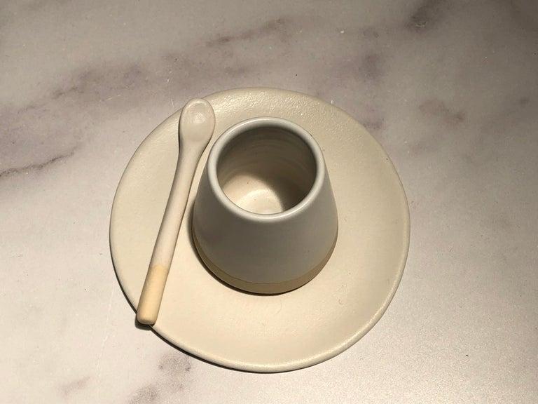 Portuguese Handmade Ceramic Matte Tea Spoon in White, in Stock For Sale