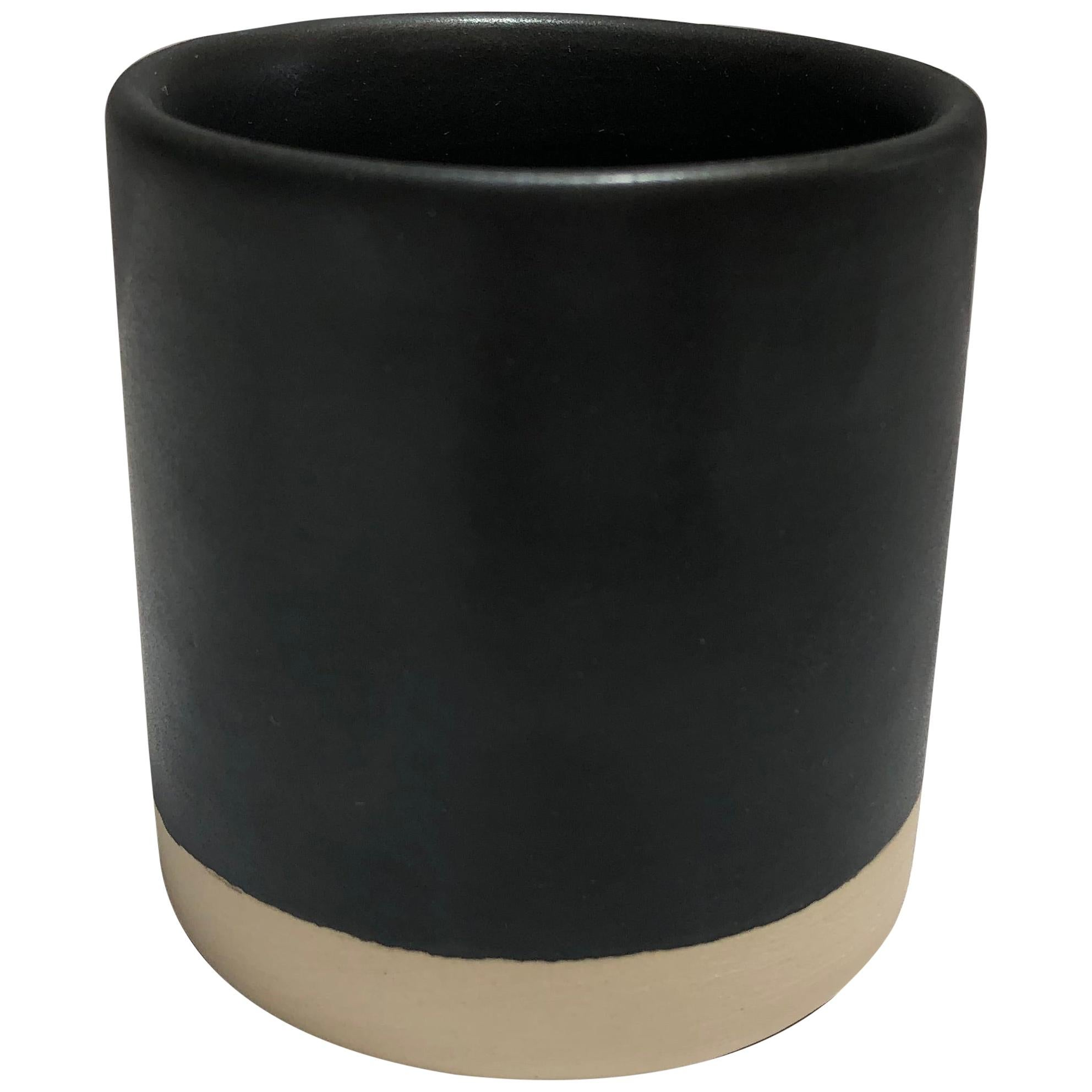 Handmade Ceramic Matte Tumbler in Black, in Stock