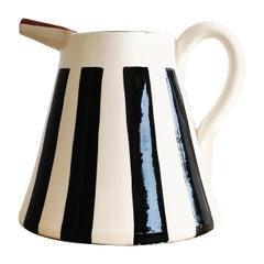 Handmade Ceramic Medium Pitcher with Graphic Black and White Design, in Stock