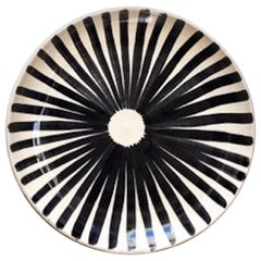 Handmade Ceramic Ray Platter with Graphic Black and White Design, in Stock