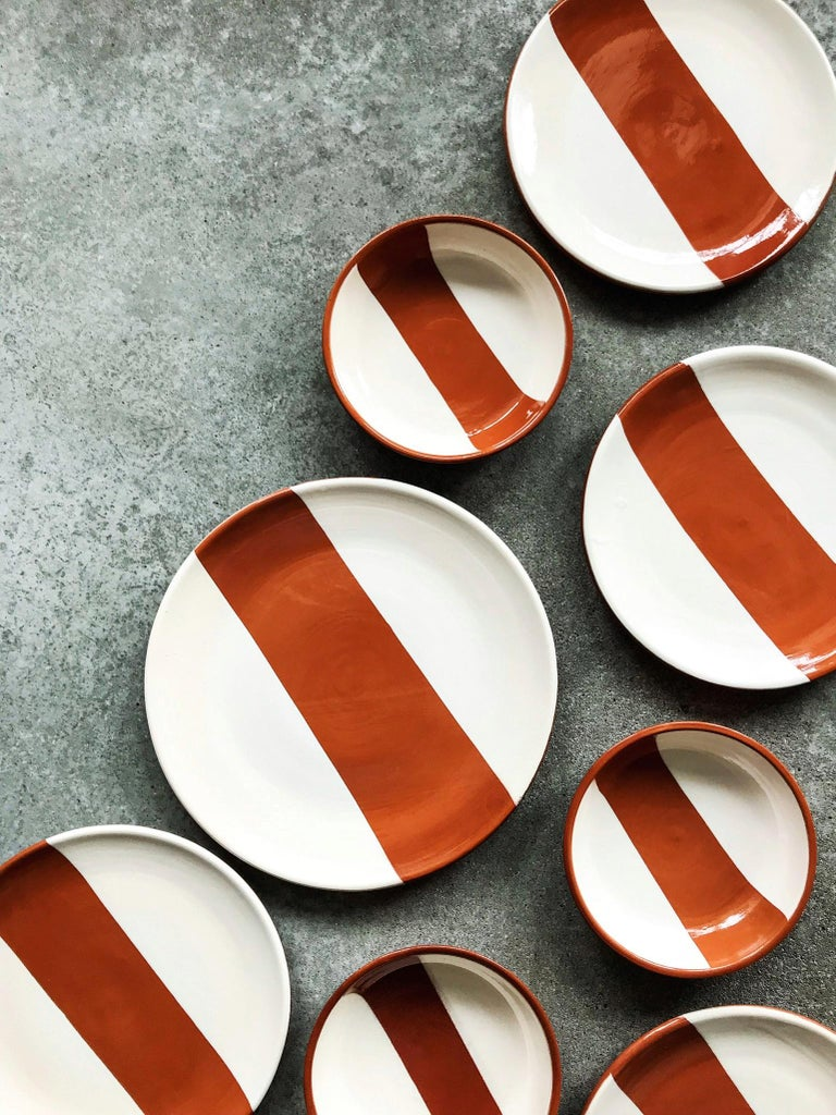 Hand-Painted Handmade Ceramic Rectangle Salad Plate in Terracotta and White, in Stock For Sale