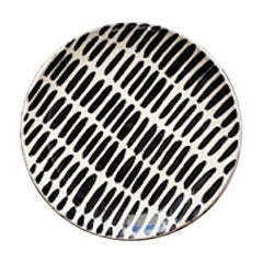 Handmade Ceramic Saucer with Graphic Black and White Design, in Stock