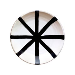 Handmade Ceramic Segment Saucer with Graphic Black & White Design, in Stock