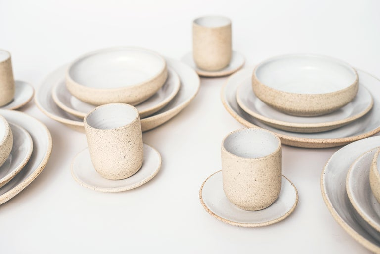Mexican Handmade Ceramic Stoneware 4 Piece Place Setting in Ivory and Natural For Sale