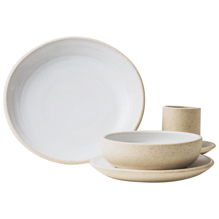 Handmade Ceramic Stoneware 4 Piece Place Setting in Ivory and Natural For Sale