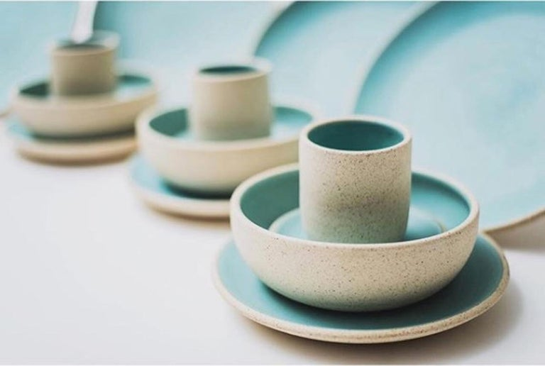 Organic Modern Handmade Ceramic Stoneware Bowl in Turquoise, in Stock For Sale