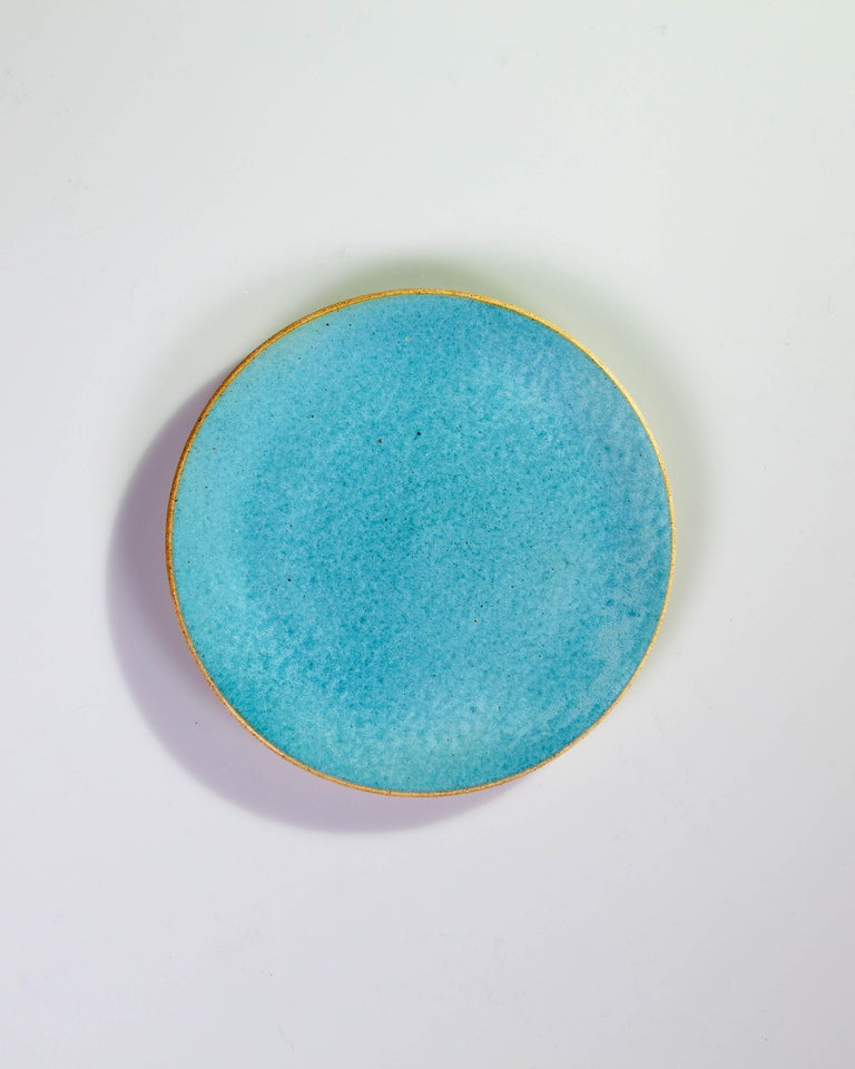 Hand-Crafted Handmade Ceramic Stoneware Bowl in Turquoise, in Stock For Sale