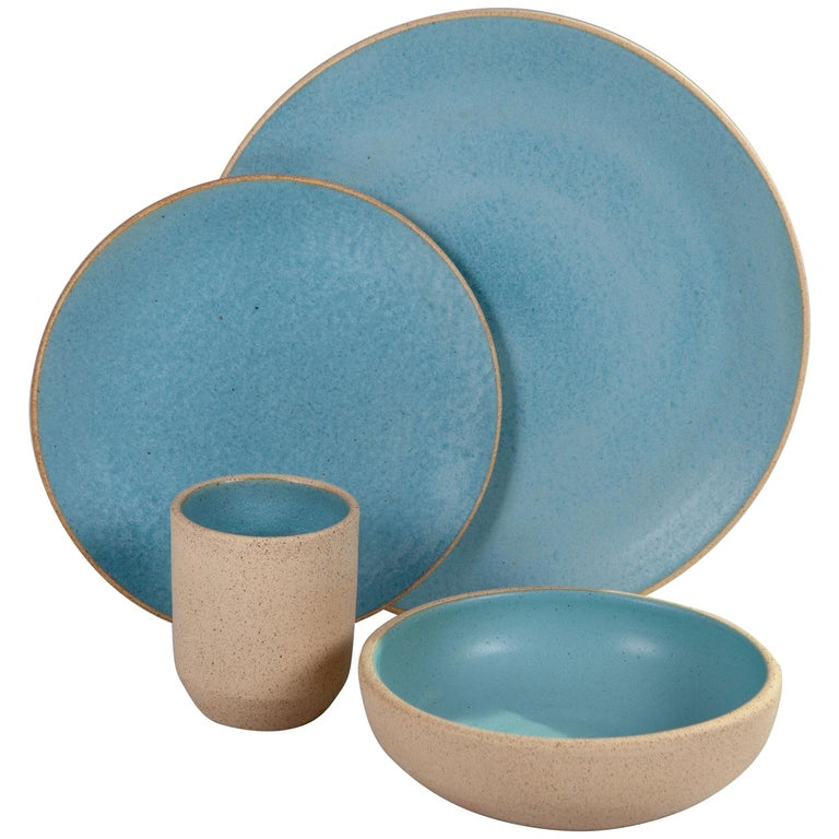 Handmade Ceramic Stoneware Bowl in Turquoise, in Stock For Sale