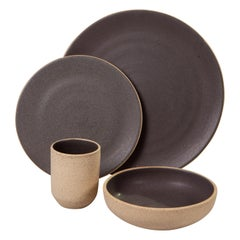 Handmade Ceramic Stoneware Dinner Plate in Grey, in Stock