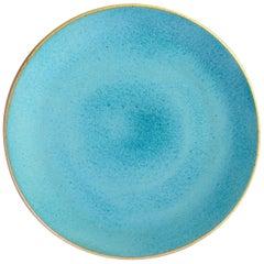 Handmade Ceramic Stoneware Dinner Plate in Turquoise, in Stock