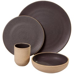 Handmade Ceramic Stoneware Five-Piece Place Setting in Gray, in Stock