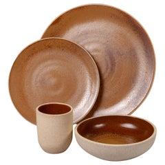 Handmade Ceramic Stoneware Five Piece Place Setting in Ochre, in Stock