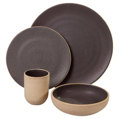 Handmade Ceramic Stoneware Four-Piece Place Setting in Grey, in Stock