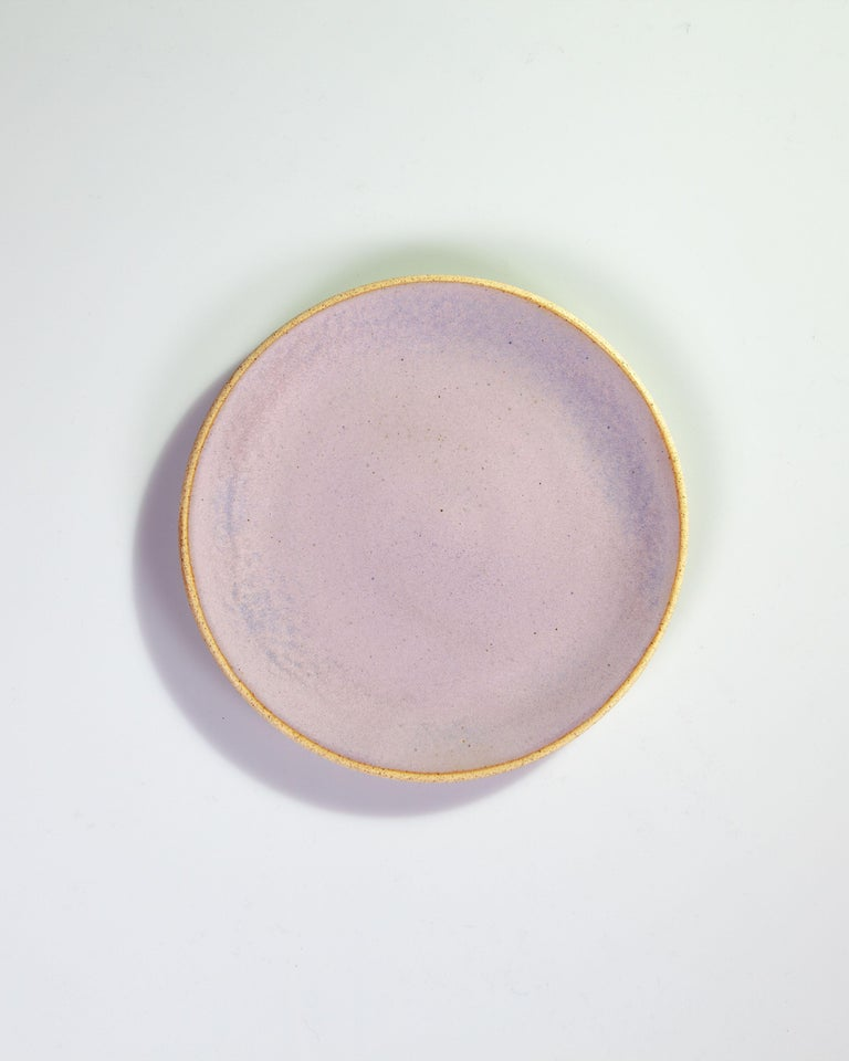 Mexican Handmade Ceramic Stoneware Four Piece Place Setting in Lavender, in Stock For Sale
