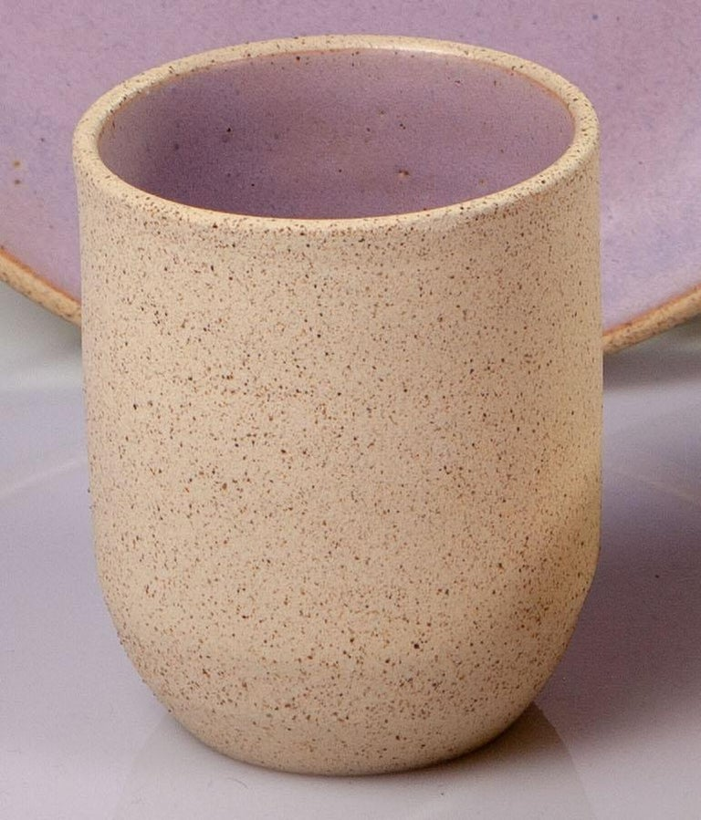 Handmade Ceramic Stoneware Four Piece Place Setting in Lavender, in Stock In New Condition For Sale In West Hollywood, CA