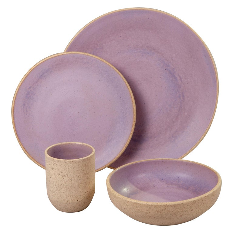 Handmade Ceramic Stoneware Four Piece Place Setting in Lavender, in Stock For Sale