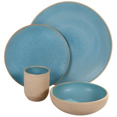 Handmade Ceramic Stoneware Four Piece Place Setting in Turquoise, in Stock