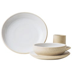 Handmade Ceramic Stoneware Salad Plate in Ivory, in Stock