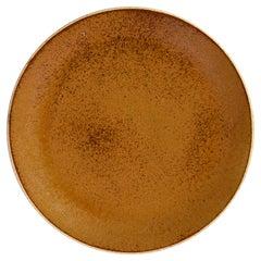 Handmade Ceramic Stoneware Salad Plate in Ochre, in Stock