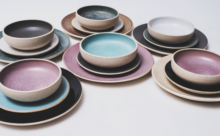 Handmade Ceramic Stoneware Salad Plate in Turquoise, in Stock In New Condition For Sale In West Hollywood, CA