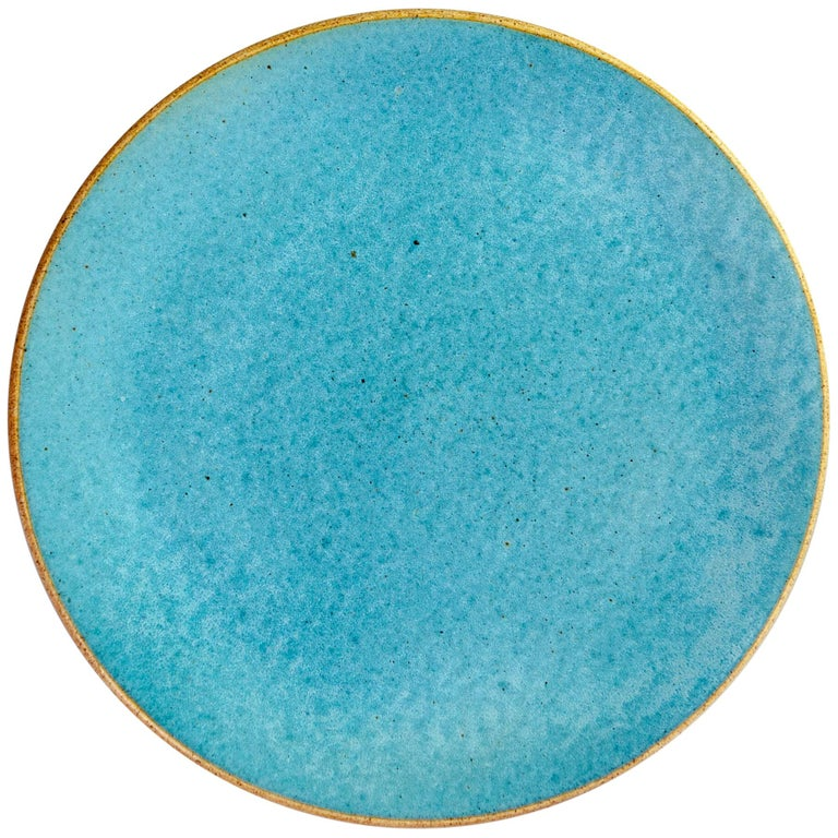 Handmade Ceramic Stoneware Salad Plate in Turquoise, in Stock For Sale