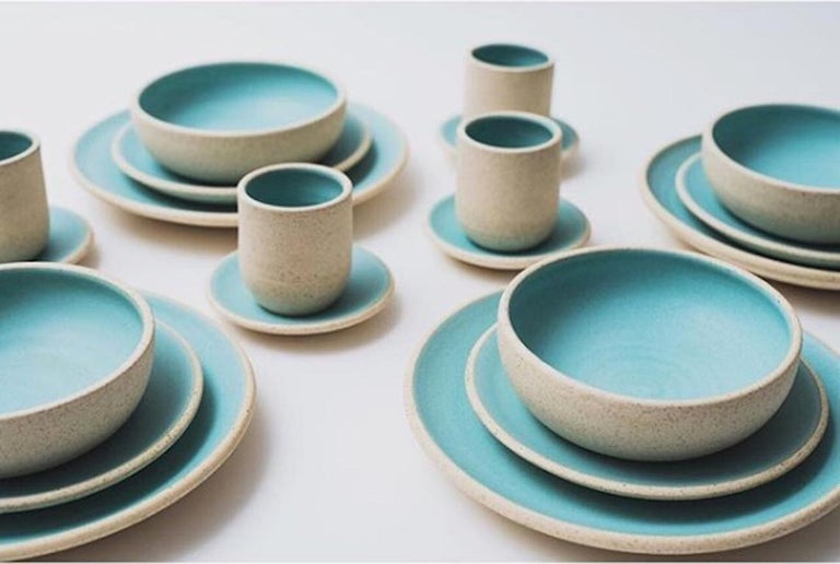 Mexican Handmade Ceramic Stoneware Salad Plate in Turquoise, in Stock For Sale