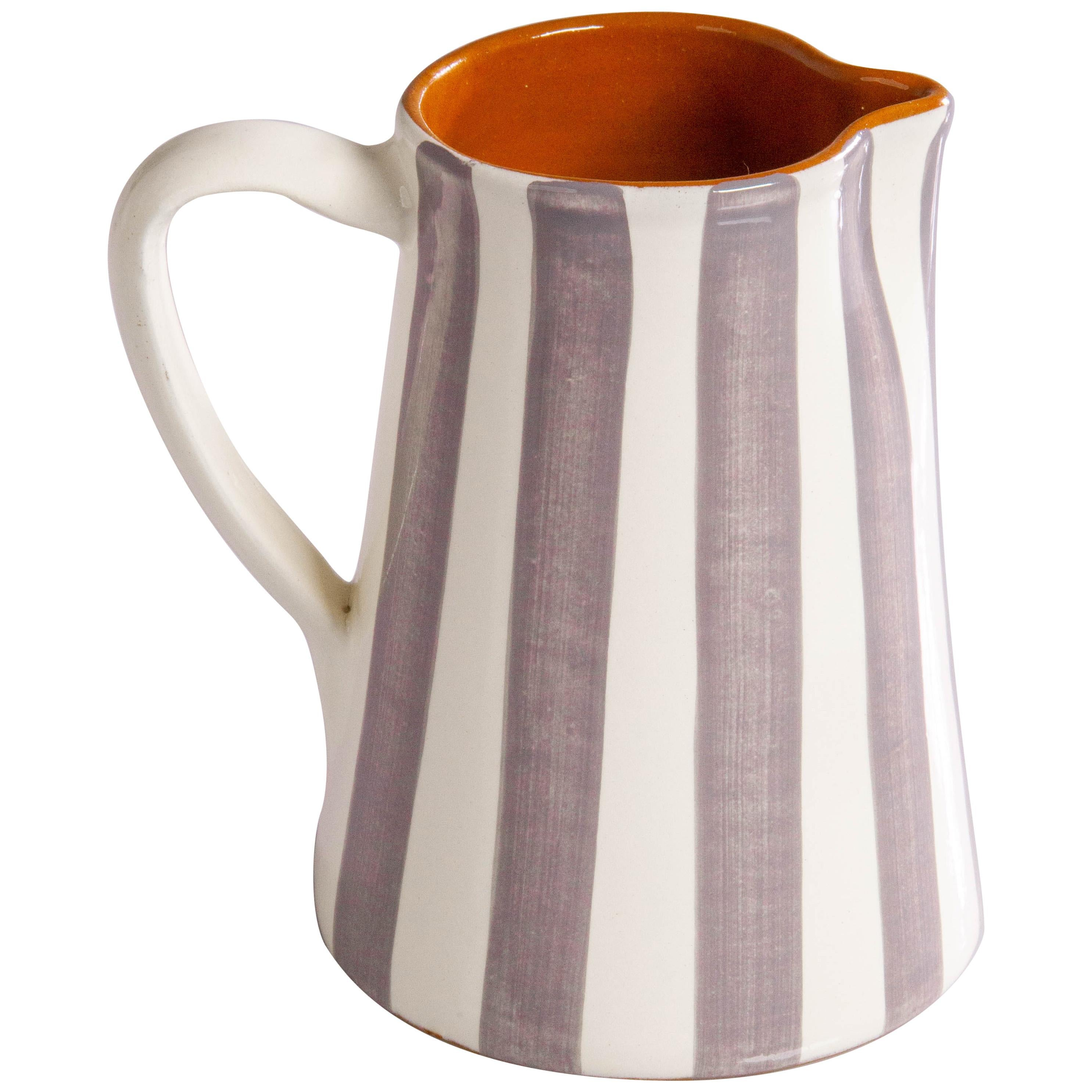 Handmade Ceramic Striped Jug with Graphic Grey and White Design, in Stock