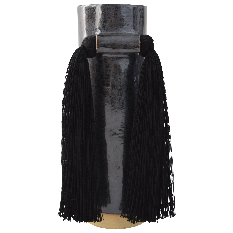 Handmade Ceramic Vase #531 in Black with Tencel Fringe