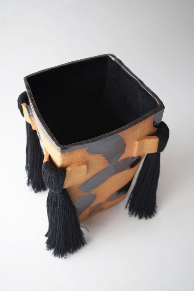 American Handmade Ceramic Vase with Black Brushstrokes, Black Cotton Fringe For Sale