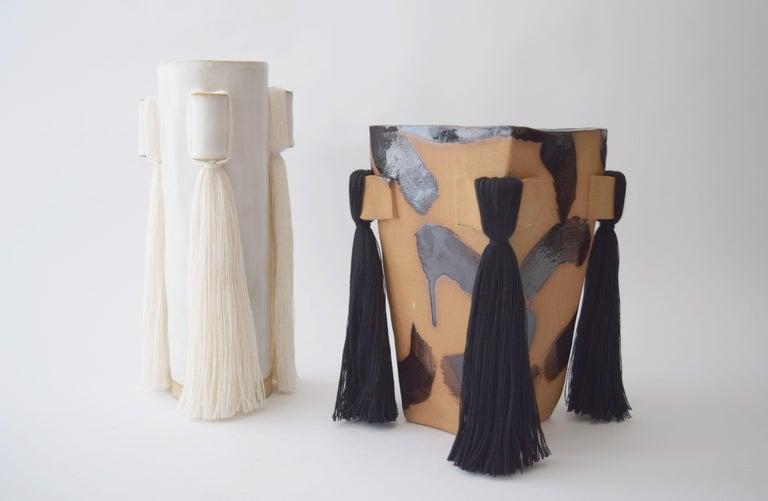 Hand-Crafted Handmade Ceramic Vase with Black Brushstrokes, Black Cotton Fringe For Sale