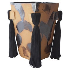 Handmade Ceramic Vase with Black Brushstrokes, Black Cotton Fringe