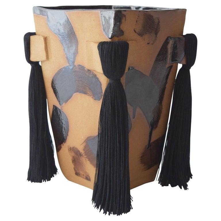 Handmade Ceramic Vase with Black Brushstrokes, Black Cotton Fringe For Sale