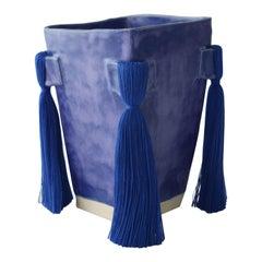 Handmade Ceramic Vase with Blue Glaze, Blue Cotton Fringe