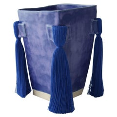 Handmade Ceramic Vase with Blue Glaze, Blue Cotton Fringe