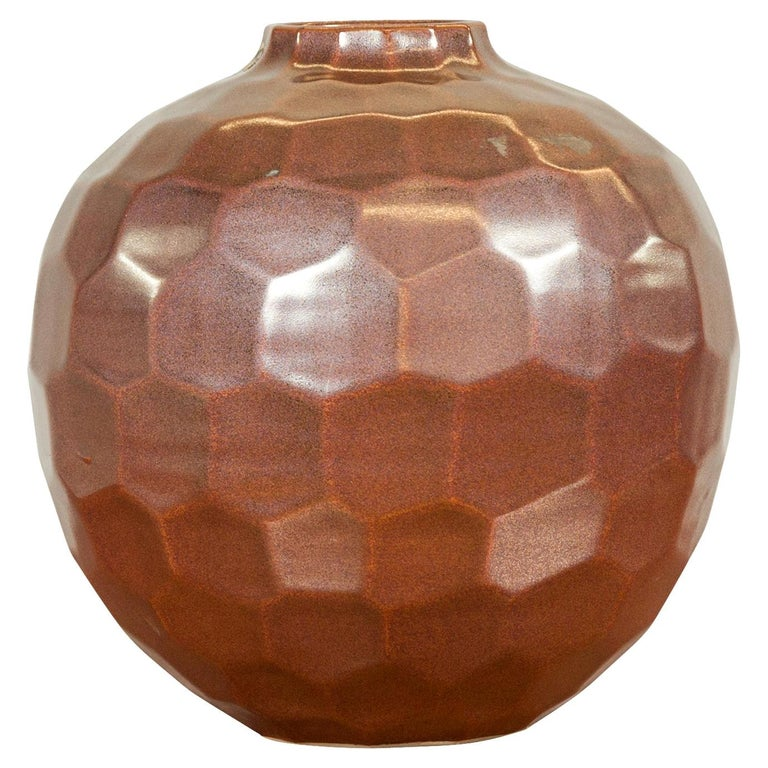 Handmade Chiang Mai Northern Thai Ceramic Vase with Faceted Tortoise Pattern For Sale