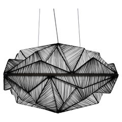 Handmade Coal Pleated Silk Zooid 1M Pendant Light