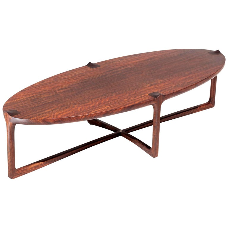 Handmade Coffee Table in Hardwood, Brazilian Contemporary Design For Sale