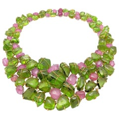 Handmade Collar Style Peridot, Pink Sapphire, Ruby and Diamond Necklace