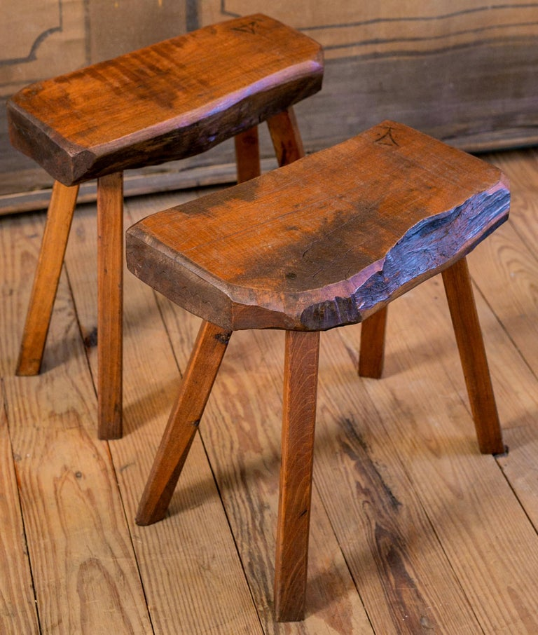 Country Handmade Collection of Oak Stools from Belgium with Live Edge For Sale