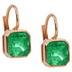 Handmade Columbian Emerald Cushion Cut Drop Earrings 18 Karat Rose Gold