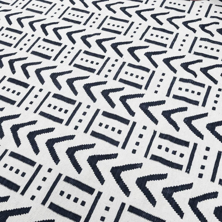 Afghan Handmade Contemporary Flat-Weave Black and White Colors For Sale