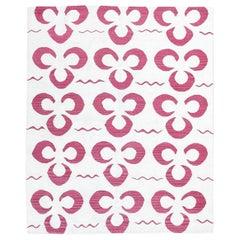 "Handmade Contemporary Flat-Weave Garnet and White, ""Suzani"" Design"