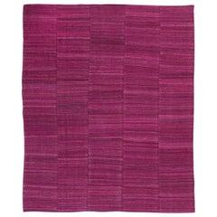 Handmade Contemporary Flat-Weave Garnet Modern Design